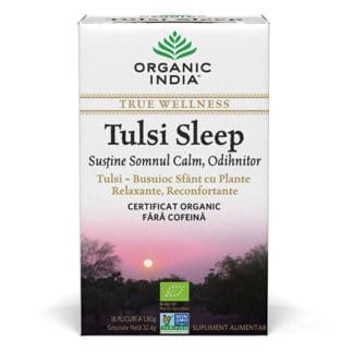 Ceai Tulsi Sleep cu Plante Relaxante, Reconfortante, plicuri, Organic India