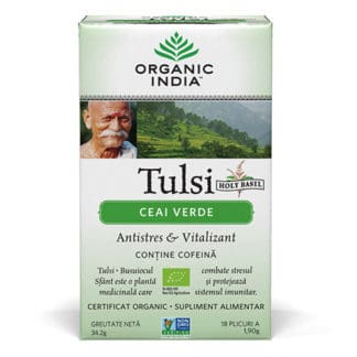 Ceai Verde Tulsi (Busuioc Sfant), Antistres Natural & Vitalizant, plicuri, Organic India