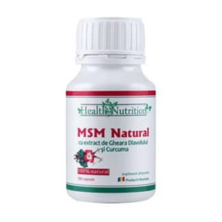 MSM Natural cu Extract de Gheara Diavolului si Curcuma, 180 cps, Health Nutrition