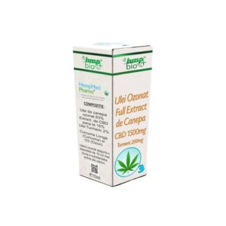 Ulei Ozonat Full Extract de Canepa CBD 1500 mg, Turmeric 200 mg, 10 ml, HempMed Pharma