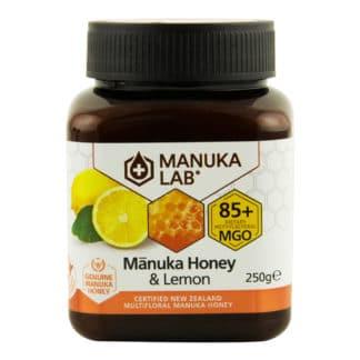 Miere de Manuka poliflora cu lamaie MANUKA LAB, MGO 85+ Noua Zeelanda, 250 g, naturala