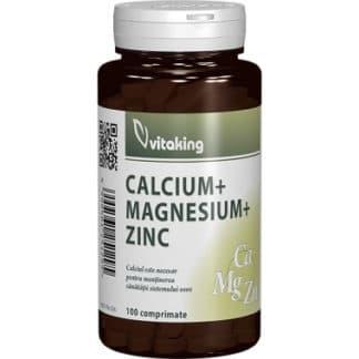 Calciu-Magneziu cu Zinc, 100 cpr, Vitaking