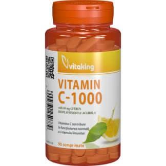 Vitamina C 1000 mg cu bioflavonoide, acerola si macese, 90 cpr, Vitaking