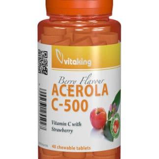Vitamina C 500 mg cu acerola gust de căpșuni, 40 cpr, Vitaking