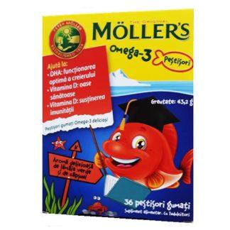 Omega 3 și vitamina D jeleuri peștișori cu aroma de lămâie verde și căpșuni, 36 buc, Moller's