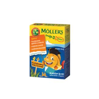 Omega 3 și vitamina D, jeleuri peștișori cu aromă de lămâi și portocale, 36 buc, Moller's