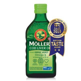 Moller's cod liver oil Omega-3, aromă de mere verzi, 250 ml, Moller's