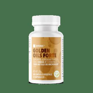 Golden Oils Forte, complex natural de Omega 3 din alge marine și Vitamina E, 60 cps, Bitonic