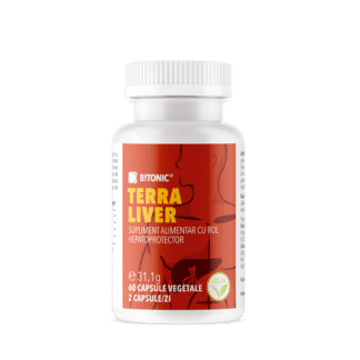 Terra Liver, complex hepatoprotector PREMIUM cu extract PURE din plante, turmeric si piper negru, 60 cps, Bitonic